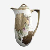 Austria porcelain golden chocolate pot Gutherz c. 1898 artist signed