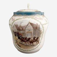 PH Leonard Austria porcelain cracker jar stagecoach portrait  c. 1898