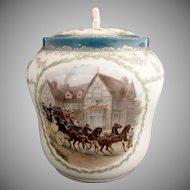 Antique cracker jar stagecoach portrait PH Leonard Austria c. 1898