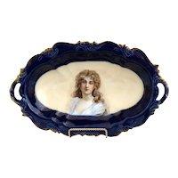 Antique cobalt ice cream tray Constance portrait Rosenthal porcelain c. 1898
