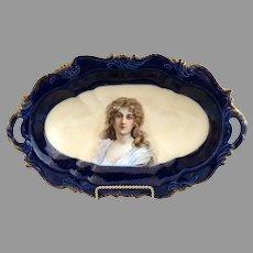 Victorian cobalt ice cream tray Constance portrait Rosenthal porcelain c. 1898