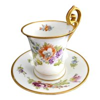 Antique porcelain chocolate cup saucer hand painted P. Donath Silesia c. 1880s