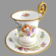 Victorian porcelain chocolate cup saucer hand painted P. Donath Silesia c. 1880s