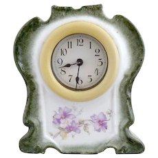 German porcelain clock celluloid frame Wurttemberg Germany c. 1900