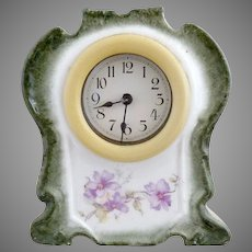Antique German porcelain clock celluloid frame Wurttemberg Germany