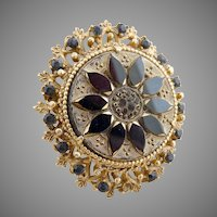 Vintage brooch jet beads black enameling Florenza