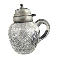 Antique cut glass syrup pitcher silver lid