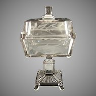 Antique etched glass square compote Adams NR75 aka Post c. 1880s