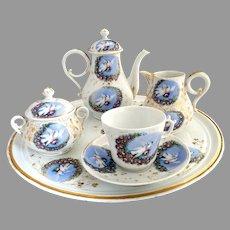 Victorian porcelain tea set love birds petit dejeuner Austria c. 1880s