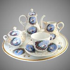 Victorian porcelain tea set love birds roses Carlsbad Austria c. 1880s