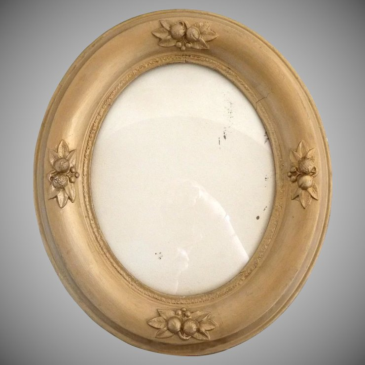 Vintage gesso oval picture frame raised fruit decoration 8x10 ...