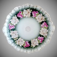 Antique porcelain platter charger heirloom roses Rosenthal c. 1890s