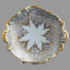 Vintage porcelain Art Deco bowl gold blue German crossed swords mark