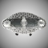 American Brilliant cut glass ice cream platter Harvard and Daisy
