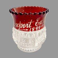 Antique glass toothpick holder ruby flash Columbia Tarentum Glass 1899 Export Expo