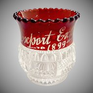 Antique glass toothpick holder ruby flash Columbia Tarentum Glass 1899 Export Expo