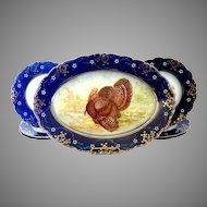 Antique La Belle turkey platter plates flow blue Wheeling Pottery c.1893 Thanksgiving Christmas