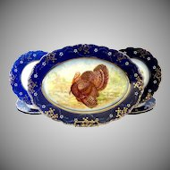 Antique La Belle turkey platter plates flow blue Wheeling Pottery c.1893 Thanksgiving Christmas