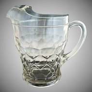 Vintage depression glass lemonade pitcher honeycomb pattern