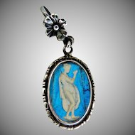 English sterling sulphide cameo pendant morpho butterfly