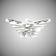 Native American silver eagle brooch Navajo hand wrought