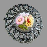 Antique intaglio daisy rose fur clip