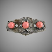 Antique Carnelian cabochon brooch Art Nouveau c. 1900