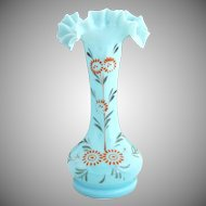 Antique Bristol opaque blue glass vase hand enameled Victorian glass