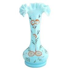 Antique Bristol opaque blue glass vase hand enameled Victorian glass