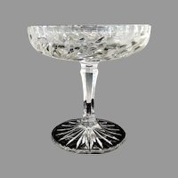 Vintage glass stemmed champagne compote etched flowers