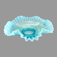 Antique glass brides bowl blue opalescent ruffled rim