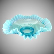 Antique glass brides bowl blue opalescent ruffled rim