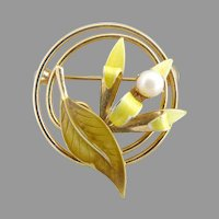 Vintage Lily brooch pearl center yellow green enameling