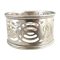 Antique silver napkin ring pierced design