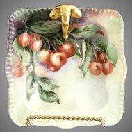 OE&G Austria square olive dish lemon dish gold handle c. 1900