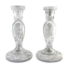 Vintage cut glass candlesticks etched roses