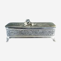 Antique silver glove box satin lining by Wm Tufts c. 1880s