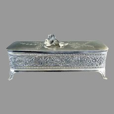 Art Nouveau silver glove box satin lining Wm Tufts c. 1880s