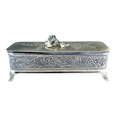 Art Nouveau silver glove box satin lining Wm Tufts c. 1880s