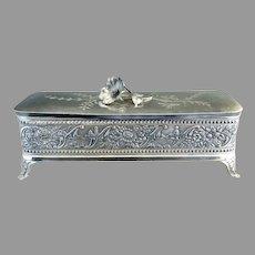 Wm Tufts silver glove box satin lining  Art Nouveau c. 1880s