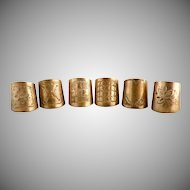 Antique cigar holders cigar rings brass engraved set of 6