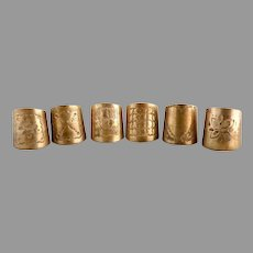 Antique cigar rings brass engraved set of 6