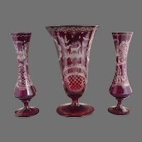 Egermann cranberry glass vases cut to clear Stag and Castle