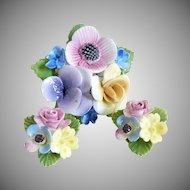 Vintage porcelain flower brooch and earring set Thorley England