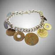 Vintage coin charm bracelet International 1958 One Centavo Filipinas Philippines center coin