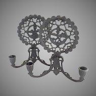 Vintage cast iron candle sconces folk art hearts children