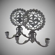 Vintage cast iron candle sconces folk art hearts children
