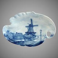 Rosenthal Delft blue nappy tray windmill horse buggy c. 1900