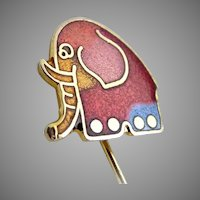 Vintage guilloche pin elephant enameled Pachyderm
