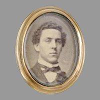 Antique gem tintype photo pin ca 1860s. brass frame Daguerreotype